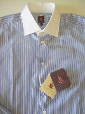 Robert Talbott Cotton White Collar Blue Striped Dress Shirt NWT 17.5 x 36 $245