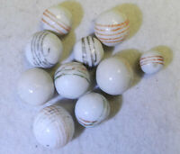 #10300m Vintage Group of 10 German Hand Painted China Marbles .44 to .69 Inches
