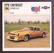 1978-1981 Chevrolet Camaro Z-28 Z28 Car Photo Spec Sheet Info CARD 1979 1980
