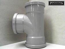 UPVC suolo TUBO 110mm DERIVAZIONE TEE-Grigio Chiaro Compact suolo TEE TRIPLE SOCKET