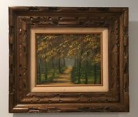 """VTG Oil Painting of Forest By Artist VanLaver 8"""" x 10"""" On Canvas w Carved Frame"""