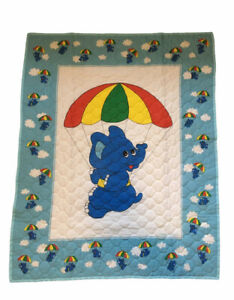 Thats Our Baby Swaddle Blanket Take Flight Hot Air Balloon Elephant White Blue