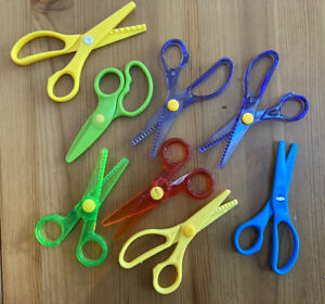 X8 Pairs Plastic Scissors Children Toddler Pre-school Sensory Learning Art Craft