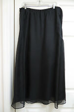 Womens Long Double Layer Black Chiffon A-Line Silk Skirt ~ Size XL ~ Excellent
