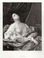 """Emotional GUIDO RENI 1800s Engraving """"Cleopatra and the Asp"""" SIGNED Framed COA"""