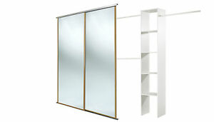 Oak framed mirror doors (2 x 36'') and storage. Up to 1803mm (5ft 11ins) wide