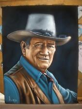 John Wayne badass cowboy black velvet oil painting handpainted signed art