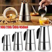 100-450ML Stainless Steel Stovetop Espresso Coffee Maker Percolator Pot Moka US