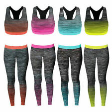Women's Sportswear Crop Top & Leggings Set Stretch-Fit Yoga Ladies Gym Wear Set