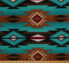 Raindance Teal Brown Southwest Fleece Fabric Print by the Yard A223.02