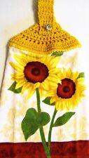 SUNFLOWERS ~~  Crochet Top Hanging Cotton Velour Kitchen Towel