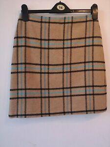 "Skirt 10 M & S Camel Beige Check Wool Mix Warm Feel Autumn Mini 19.5"""