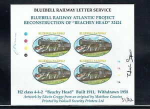 Bluebell Railway 2002 Atlantic Project stamp in sheet Imperf & Signed