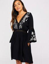 Next Black Cutwork Viscose Cotton Linen Blend Beachwear Dress //Kaftan Sz L 16-18