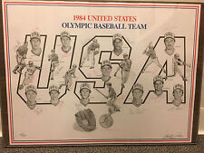 1984 USA Olympic Baseball Team Signed Paluso Lithograph