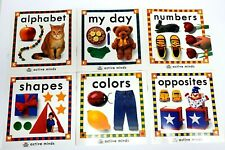 6 Educational Pre-School Books ACTIVE MINDS COMPLETE SET Numbers Shapes Colors