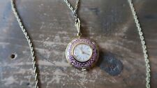 "Vintage BUCHERER Gold and Purple Enamel 17 Jewel Pendant 23"" Necklace Watch"