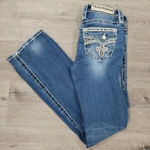 Rock Revival Womens 26 X 31 Yui Distressed Bling Pockets Mid Rise Bootcut Jeans