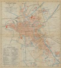 'Tientsin'. Tianjin antique town city plan. China 1915 old map chart