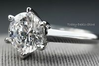 Solid 14K White Gold Round Cut Solitaire Engagement Wedding Promise Ring 4.00 Ct