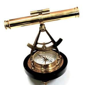 "Telescopic Alidade Compass 12"" Brass Survey Instrument Wood Base Nautical Decor"