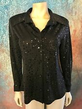 Sole Dior Studio Woman's Blouse, Black, Shimmery Polka Dots, Career Wear, Size S