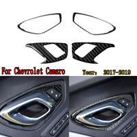 Carbon Fiber Door Lock Panel Decoration + Handle Frame Trim For Chevrolet Camaro