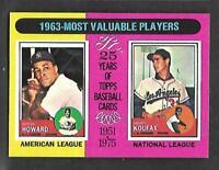 1975 Topps Mini #201 63' MVP'S Sandy Koufax Elston Howard CENTERED NM/MT+