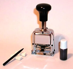7-Digit Numbering Machine Hand Stamp - Automatic Advance with Ink Pad and Ink