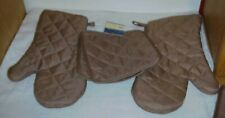 Set of 4 ~ New Brown Oven Mitts & Pot Holders Holder Free Shipping