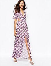 NWT $250 For Love And Lemons Clover Purple Floral Maxi Dress Cutout Back Sz M