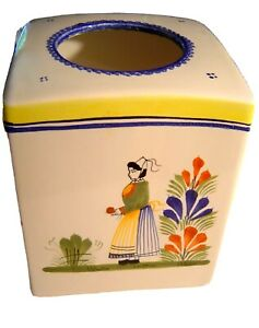 HB Henriot Quimper Woman Lady in Center Yellow Rim Tissue Box Cover Holder