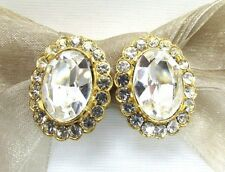 18KGP Oval Button Swarovski Element Austrian Crystal Clip On Earrings