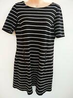 WOMENS WALLIS NAVY BLUE & WHITE STRIPE STRIPED SHIFT DRESS UK 10 PETITE