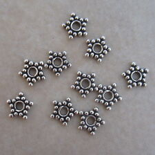 10 sterling silver 6mm Bali star spacer beads