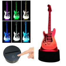 Guitar 3D Illusion LED Night Light 7 Color Changing Touch Switch Desk Lamp Gifts