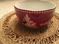 222 Fifth NORTHWOOD COTTAGE Soup Cereal Bowl 9577246 Set of 4 Red EUC