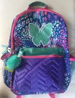 """Leopard Print Glitter Butterfly 16"""" Backpack School Book Bag Tote Full Size NWT"""