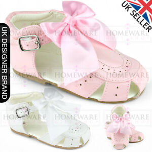 BABY GIRLS SPANISH BOW SANDALS PATENT SANDALS SPIDER HARD SOLE PINK WHITE UK3-8