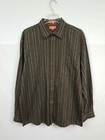 Faconnable Jeans Men's Long Sleeve Button Front Shirt Size XL Brown Striped