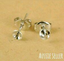 10 x Sterling Silver 925 Stamped Earrings Findings Ear Studs Butterfly Back DIY