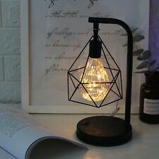 Retro Black Geometric Wire Industrial LED Light Bulb Bed Battery Table Lamp