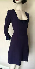 Karen Millen,Dark Purple,Satin Silk  Bow,Knit Dress, size 2, UK 10