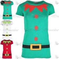 Womens Christmas T Shirt Ladies Elf Costume Xmas Cap Short Sleeve Jersey Top