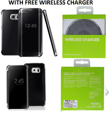 Samsung Galaxy S6 Edge Plus Clear View Flip Case Black + Qi Wireless Charger New