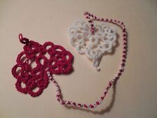 Tatted Bookmark Heart to Heart Red & White Lace By Dove Country Tatting #2