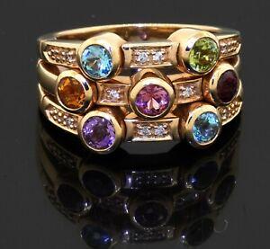 Sonia B heavy 14K YG 1.50CT Rainbow gemstone multi-band cocktail ring size 7