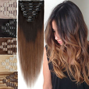 8Pieces Seamless Clip In Hair Extensions Full Head 100% Remy hair Straight Ombre