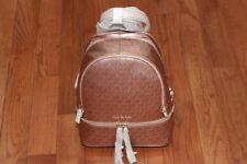 NWT Michael Kors Rhea Metallic Signature Zip Backpack Soft Pink/Rose Gold