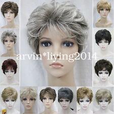 Señoras pelucas Pelo Corto Rizado diario natural para mujeres Vestido Elaborado Juegos con disfraces + Peluca Cap